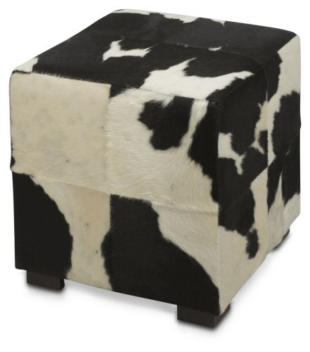 Ottoman Cube Cowhide Black /& White made in USA 16x16
